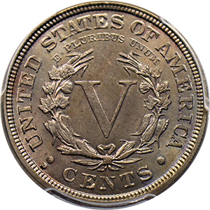 Reverse, United States 1912-D Liberty nickel, image courtesy David Lawrence Rare Coins
