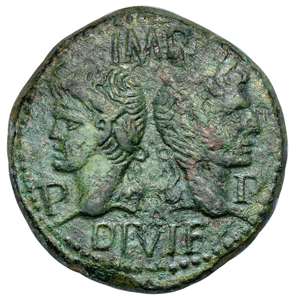 Bronze Dupondius - Augustus and Agrippa with Crocodile Obverse