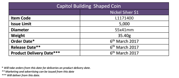 British Virgin Islands 2017 US Capitol Building shaped coin order information, courtesy Pobjoy Mint