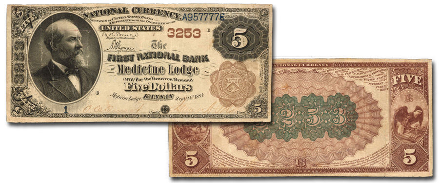 First National Bank of Medicine Lodge, Kansas Serial Number 1 $5 Brown Back. Images courtesy Stack's Bowers Galleries