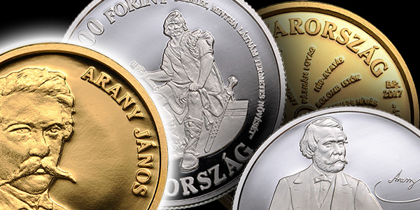 Gold and Silver Coins honoring 200th Birthday of János Arany