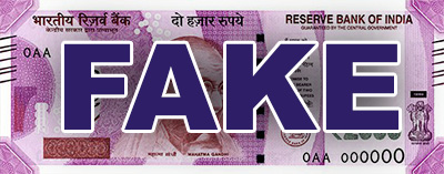 Reserve Bank of India note with FAKE superimposed
