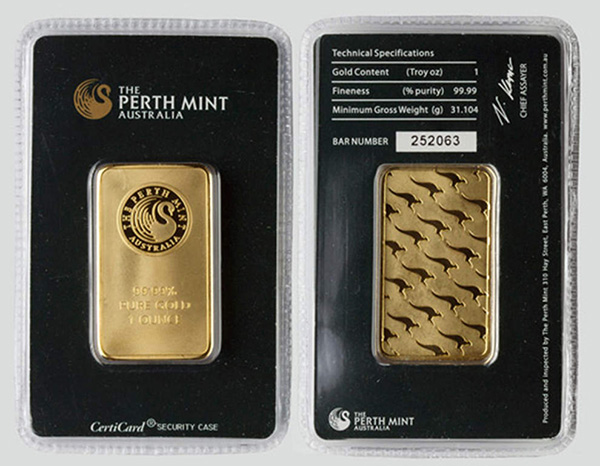 Fake CertiCard Perth Mint 1 Ounce Bullion Bar. Photo Credit: Bend, Oregon Police Department