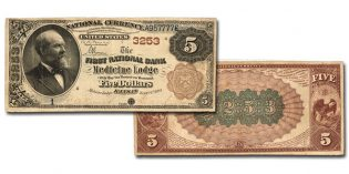 Paper Money Auctions – First National Bank of Medicine Lodge, Kansas Serial Number 1 $5 Brown Back