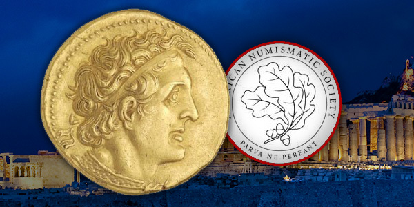 ANS logo and Greek Coin
