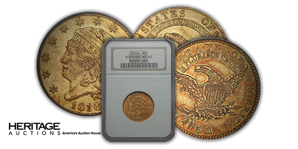 Heritage Auctions Offering of two Seldom Seen 1818 Gold $5 Coins