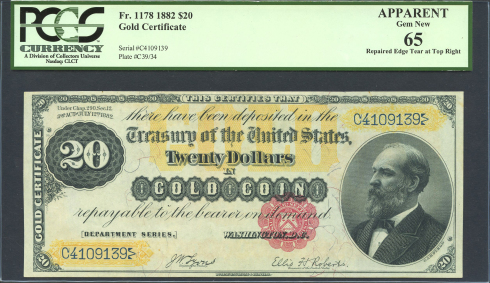 United States 1882 $20 Gold Certificate. Image courtesy PMG, Daniel Frank Sedwick, LLC