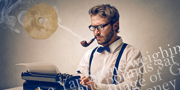 Bearded man smoking a pipe and writing about Yap Stones. An entry for the ANA Contest