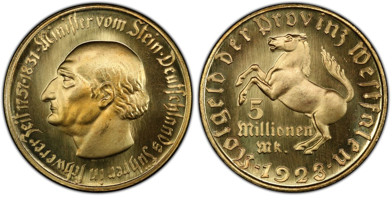 World coin: GERMANY, WEIMAR REPUBLIC. Westphalia. 1923 Gilt Bronze 5 Million Marks. Images courtesy Atlas Numismatics
