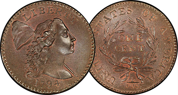 1794 Apple Cheek Cent, PCGS MS67 RB