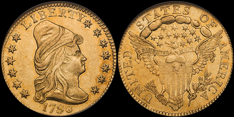1798 $2.50 PCGS AU58. Images courtesy Doug Winter