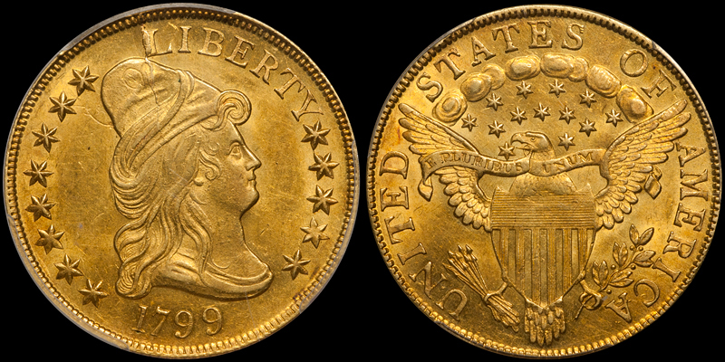 1799 $10.00 PCGS MS61. Images courtesy Doug Winter