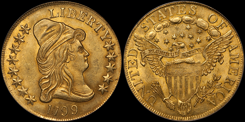 1799 LARGE STARS $10.00 PCGS MS63. Images courtesy Doug Winter