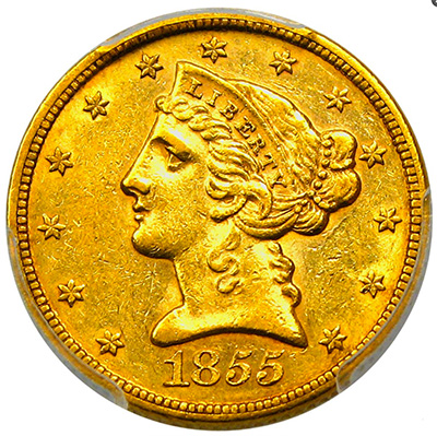 1855 $5 Gold Coin - David Lawrence Rare Coins Auction #958