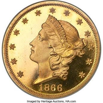 1866 With Motto Liberty Head $20 Double Eagle Proof Gold Coin. Image courtesy Heritage Auctions