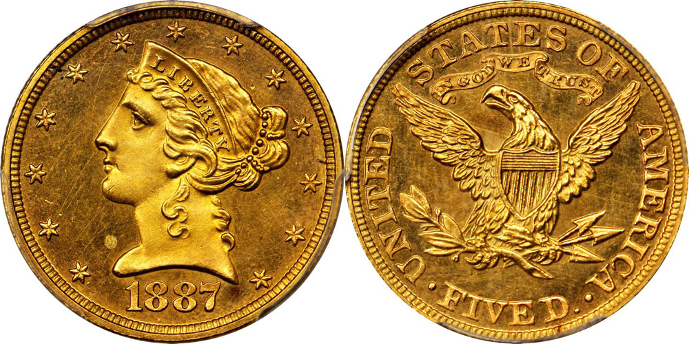 1887 $5.00 PCGS PR64+ CAC. Images courtesy Stack's Bowers