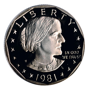 1981-S Susan B. Anthony dollar from a U.S. Proof Set
