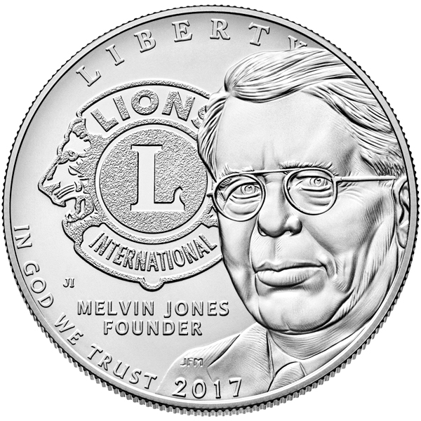 United States 2017 Lions Clubs International Centennial Silver Dollar Coin. Image courtesy U.S. Mint