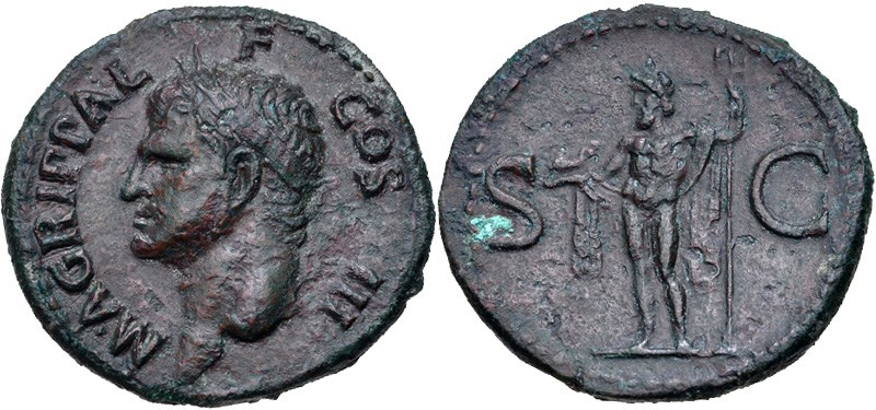 Posthumous copper coin of Agrippa. Images courtesy CNG, NGC