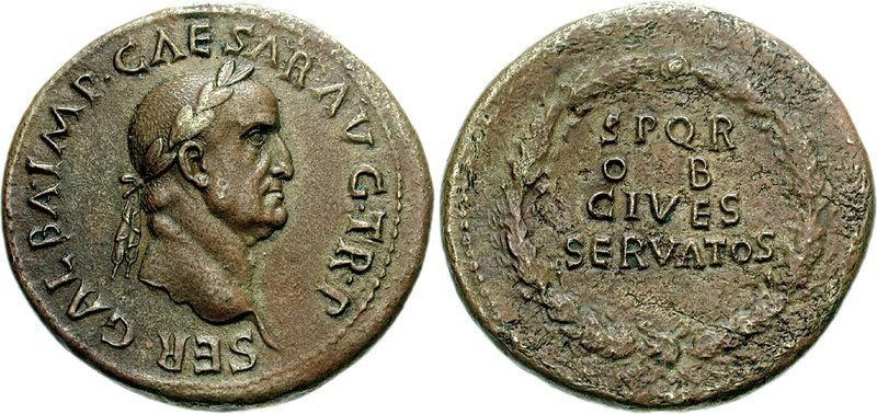 Brass sestertius of Galba. Images courtesy CNG, NGC