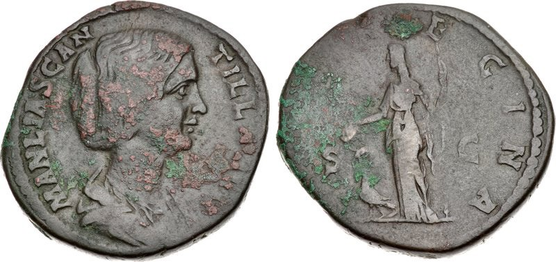 Sestertius of Manlia Scantilla. Images courtesy CNG, NGC