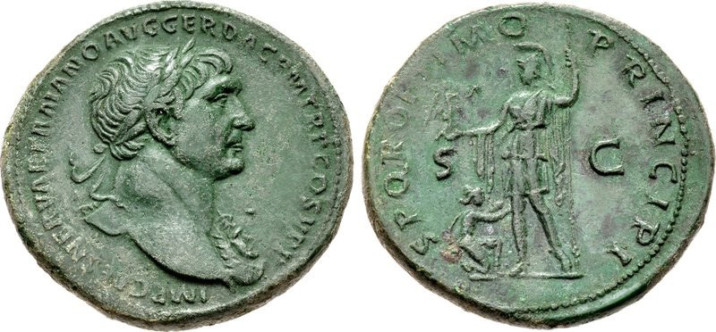 Brass sestertius of Trajan. Images courtesy CNG, NGC