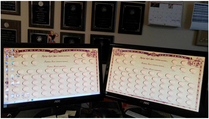 Photo of the author's desktop and computer wallpaper. Courtesy David W. Lange - Coin Board News