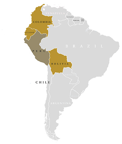 South America Map with Elemetals Import nations highlighted in gold
