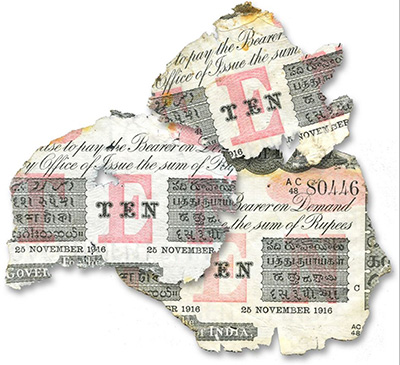 Three Torn Currency Notes
