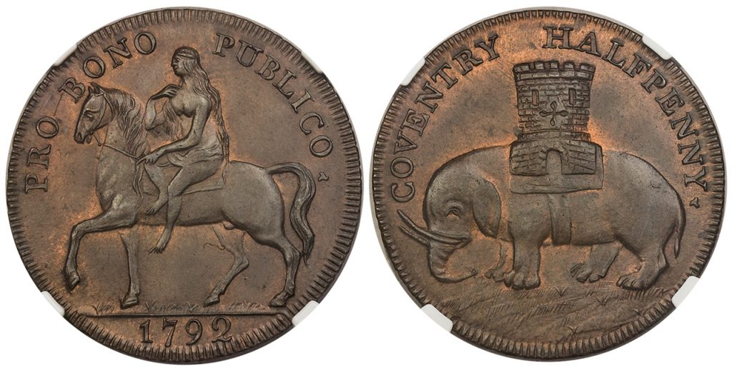 GREAT BRITAIN. Warwickshire, Coventry. 1792 CU Lady Godiva Halfpenny Token. Images courtesy Atlas Numismatics