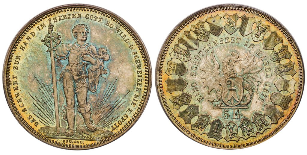SWITZERLAND. Basel. 1879 AR 5 Francs Shooting Thaler. PCGS MS66. By Durussel. Images courtesy Atlas Numismatics