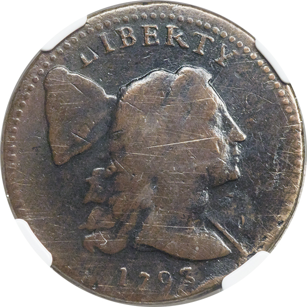Fifth-finest known early American copper 1793 S-15 Large Cent, VG10 NGC. Image courtesy Heritage Auctions
