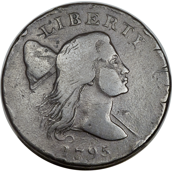 Early American copper Jefferson Head 1795 S-80 Large Cent, VG7 EAC. Image courtesy Heritage Auctions