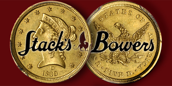 Stack's Bowers 1839-D Five Dollar Gold Coin