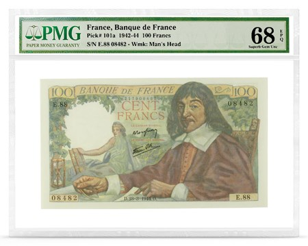 Front, France P-101a featuring René Descartes. Image courtesy PMG