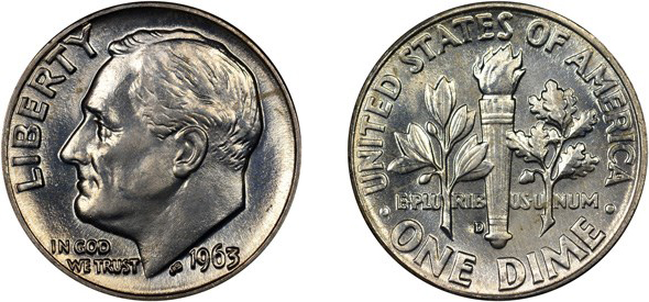 Counterfeit Detection: 1963-D Roosevelt Dime with Altered Bands. Images courtesy NGC