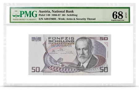 Front, Austria P-149 featuring Sigmund Freud. Image courtesy PMG