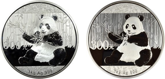 Counterfeit (left) and regular issue, 2017 One Kilo Silver 300 Yuan Panda. Images courtesy NGC