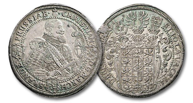 02 – 433. Brandenburg-Bayreuth. Christian (1603-1655). Taler 1631, Nuremberg. Very rare. This year unedited. From the E. von Waldenfels Collection. Extremely fine. Estimate: 10,000 euros. Starting price: 6,000 euros
