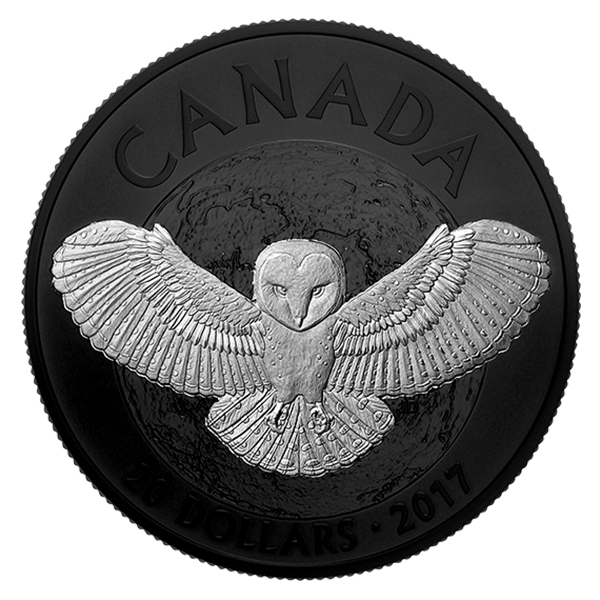 Canada 2017 Nocturnal by Nature: Barn Owl $20 Silver Coin with Black Rhodium Plating. Image courtesy Royal Canadian Mint