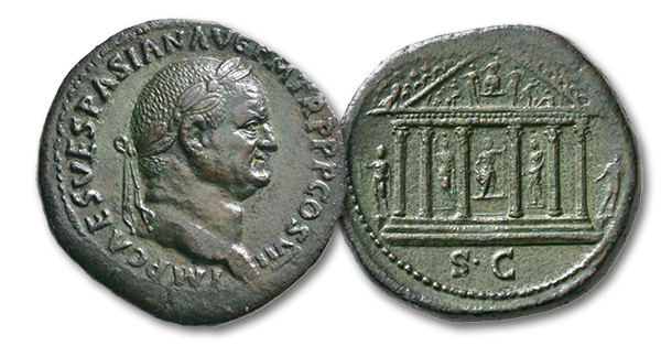 07 – 155. Vespasian, 69-79. Sestertius, 76. Rv. Temple of Jupiter Capitolinus. From Niggeler Collection (1967), No. 1161. Rare. Extremely fine / almost extremely fine. Estimate: 4,500 euros. Starting price: 2,700 euros