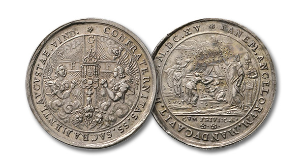 13 – 447. Augsburg. Medal 1615 by Christian Maler on the Brotherhood of the Most Holy Altar Sacrament in the Holy Cross Church. Probably unique. FDC. Estimate: 10,000 euros. Starting price: 6,000 euros