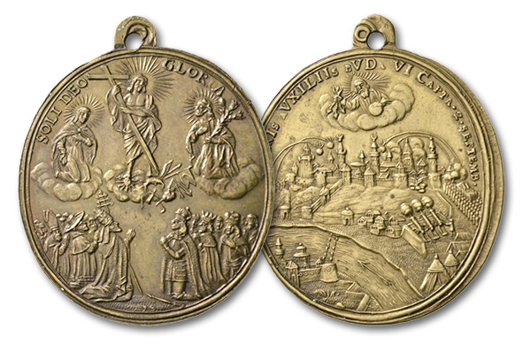 14 – 549. Budapest. On the victory of the Imperial troops over the Turks. Brass medal 1686. Very rare. FDC. Estimate: 600 euros. Starting price 360 euros