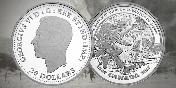 Canada 2017 Battle of Dieppe $20 Silver Coin - Dieppe coin