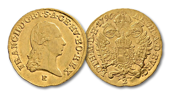 11 – 370. Holy Roman Empire. Francis I (1745-1765). 1/2 ducat 1796, Karlsburg. From Lanz sale 110, 244. Extremely fine. Estimate: 6,000 euros. Starting price: 3,600 euros