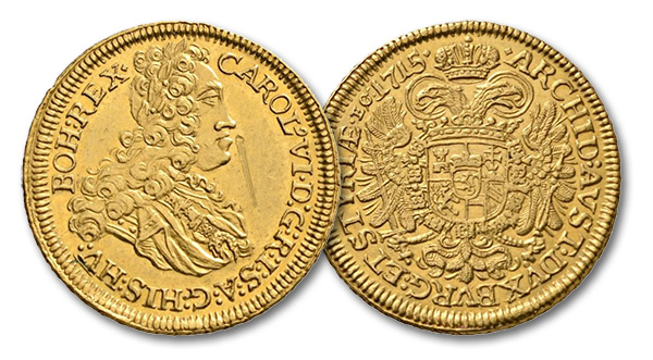 10 – 365. Holy Roman Empire. Charles VI (1711-1740). Triple ducat 1715, Graz. From Lanz sale 83, 194. Unique. Inspection mark, otherwise almost FDC. Estimate: 30,000 euros. Starting price: 18,000 euros