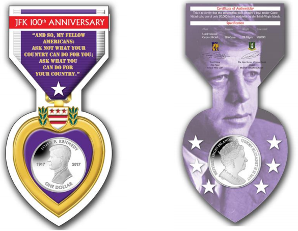 British Virgin Islands 2017 JFK Centenary $1 Coin purple heart packaging. Images courtesy Pobjoy Mint