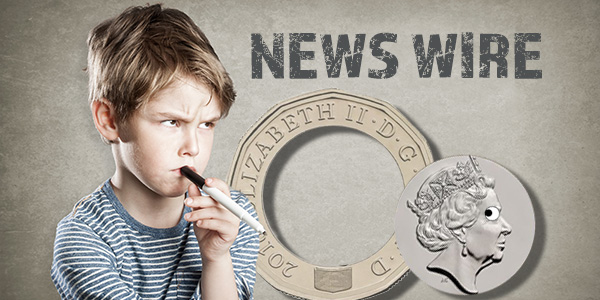 CoinWeek News Wire Graphic - Gold, Bullion & Precious Metals - Coin Collecting News - Broken New British Pound
