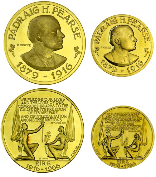 1966 Eire, Padraig H. Pearse 50th anniversary of the Easter Rising gold medallion. Images courtesy Spink