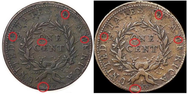 1793 S-5 Wreath Cent Counterfeit, common reverse sister marks